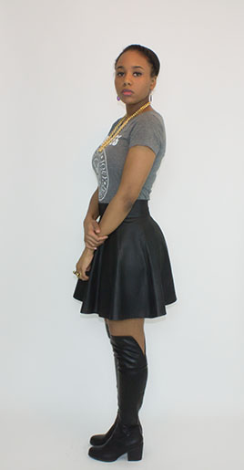 Leather Gored Skirt Side